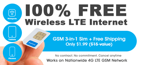 FreedomPop Global GSM 3-in-1 Sim Card Kit + Free 1GB Data Trial
