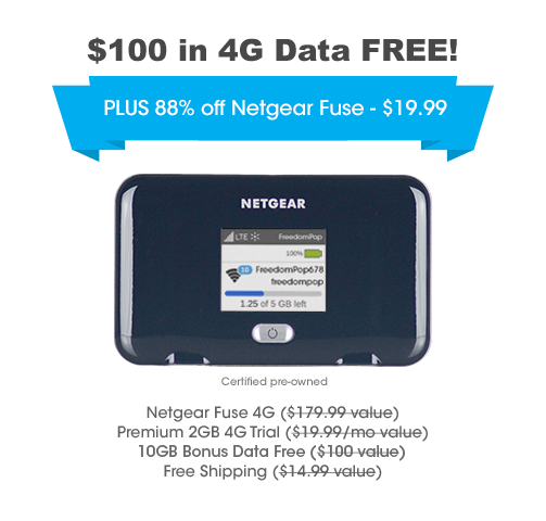 Netgear Fuse 4G LTE Hotspot + 2GB 4G Data Trial + Free 10GB Data