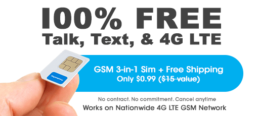 FreedomPop 4G LTE Sim + 2GB 4G Data + Unlimited Talk & Text