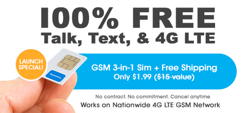 100% Free Service 4G SIM Card for FreedomPop