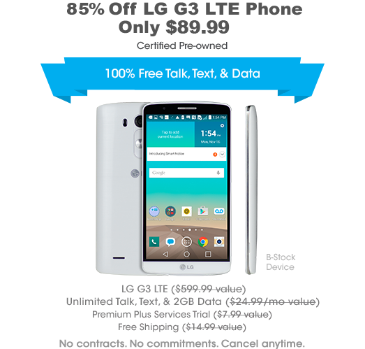 FreedomPop LG G3 LTE 16GB Phone w/2GB Data